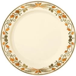 "Thanksgiving Premium Plastic Round 10-1/4"" Plates 