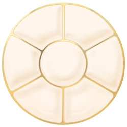 "Cream 16"" Plastic Compartment Tray w/Gold Trim 
