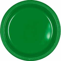 "Festive Green 7"" Plastic Round Plates - 20ctn 