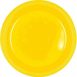 "Yellow Sunshine 7"" Plastic Round Plates - 20ct 