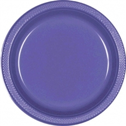 "New Purple 7"" Plastic Round Plates 