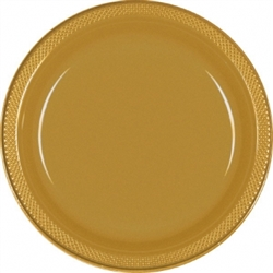 "Gold 7"" Plastic Plates - 20ct 