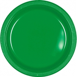 "Festive Green 9"" Plastic Round Plates - 20ct 