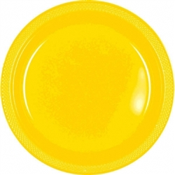 "Yellow Sunshine 9"" Plastic Round Plates - 20ct 
