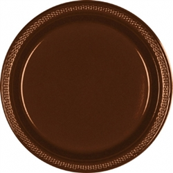 "Chocolate Brown 9"" Plastic Plates - 20ct. 