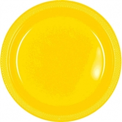 "Yellow Sunshine 10-1/4"" Plastic Round Plates - 20ct 