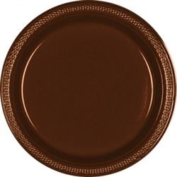 "Chocolate Brown 10-1/4"" Plastic Plates - 20ct. 