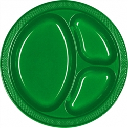 "Festive Green 10-1/4"" Divided Plastic Round Plates - 20ct 