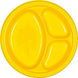 "Yellow Sunshine 10-1/4"" Divided Plastic Round Plates - 20ct 