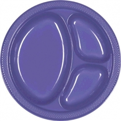 "New Purple 10-1/4"" Divided Plastic Round Plates 