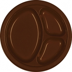 "Chocolate Brown 10-1/4"" Divided Plates - 20ct. 