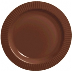 "Chocolate Brown Round 10-1/4"" Premium Plastic Plates 