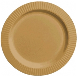 "Gold Round 10-1/4"" Premium Plastic Plates - 16ct. 
