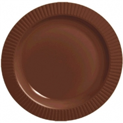 "Chocolate Brown Round 7-1/2"" Premium Plastic Plates 