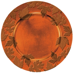 Round Embossed Charger - Orange | Party Supplies