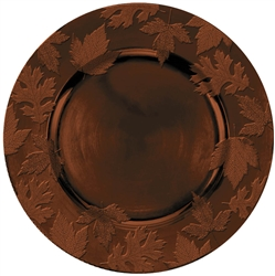 Round Embossed Charger - Brown | Party Supplies