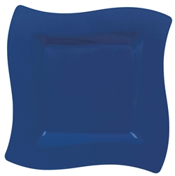 Wavy Square Blue Plastic Plates 10"