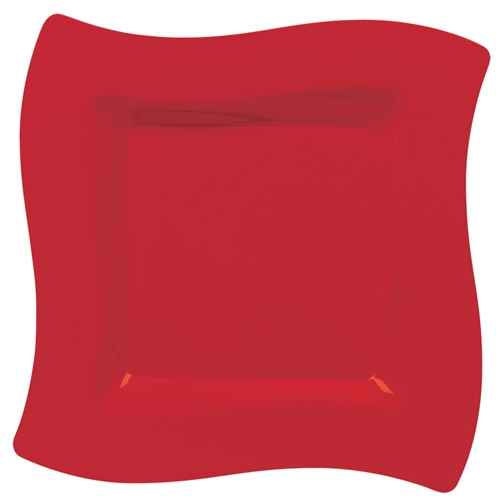 Wavy Square Red Plastic Plates 10  & Wavy Square Red Plastic Plates 10