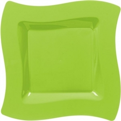 "Wavy Square 10"" Plates - Kiwi 