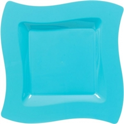 "Wavy Square 10"" Plates - Caribbean 