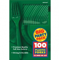 Festive Green Medium Weight Plastic Forks - 100ct | Party Supplies