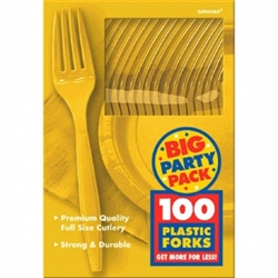 Yellow Sunshine Medium Weight Plastic Forks - 100ct | Party Supplies