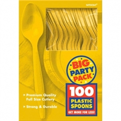 Yellow Sunshine Medium Weight Plastic Spoons - 100ct | Party Supplies