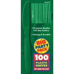 Festive Green Medium Weight Plastic Knives - 100ct | Party Supplies
