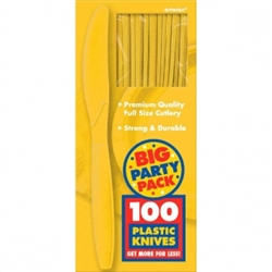Yellow Sunshine Medium Weight Plastic Knives - 100ct | Party Supplies