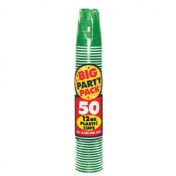 Festive Green 12 oz. Plastic Cups - 50ct | Party Supplies