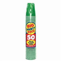 Festive Green 16 oz. Plastic Cups - 50ct | Party Supplies