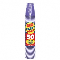 New Purple 16 oz. Plastic Cups  - 50ct | Party Supplies