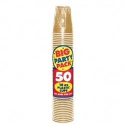 Gold 16 oz. Plastic Cups - 50ct. | Party Supplies