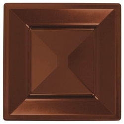 "Chocolate Brown Square 10-3/4"" Plastic Plates - 10ct. 