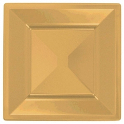 "Gold Square 10-3/4"" Plastic Plates - 10ct. 