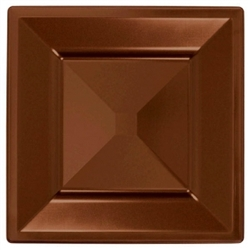 "Chocolate Brown Square 8"" Plastic Plates - 10ct. 