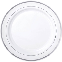"Premium 10-1/4"" Plastic White Plates w/Metallic Silver Trim 