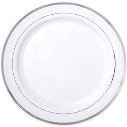 "Premium 7-1/2"" Plastic White Plates w/Metallic Silver Trim 