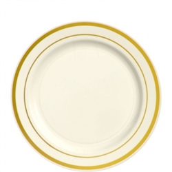 "Premium 7-1/2"" Plastic Cream Plates w/Metallic Gold Trim 