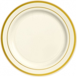 "Premium 10-1/4"" Plastic Cream Plates w/Metallic Gold Trim 