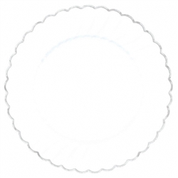 "Scalloped 10"" Plastic White Plate w/Metal Trim 