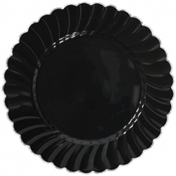 "Scalloped 10"" Plastic Black Plate w/Metal Trim 