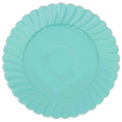 "10"" Robin's-egg Blue Scalloped w/Metal Trim Plastic Plate 
