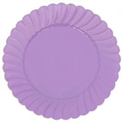 "10"" Lilac Scalloped w/Metal Trim Plastic Plate 