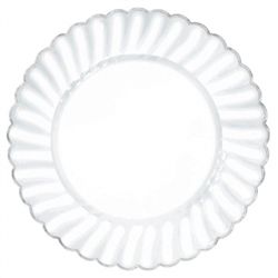 "Scalloped 10"" Plastic Clear Plate w/Metal Trim 