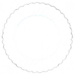 "Scalloped 7-1/4"" Plastic White Plate w/Metal Trim 