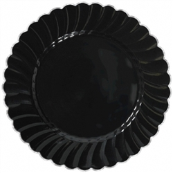 "Scalloped 7-1/4"" Plastic Black Plate w/Metal Trim 