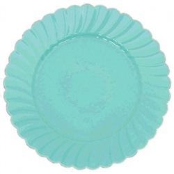 "7"" Robin's-egg Blue Scalloped w/Metal Trim Plastic Plate 
