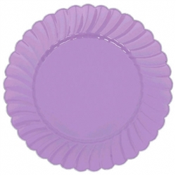 "7"" Lilac Scalloped w/Metal Trim Plastic Plate 
