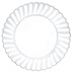 "Scalloped 7-1/4"" Plastic Clear Plate w/Metal Trim 